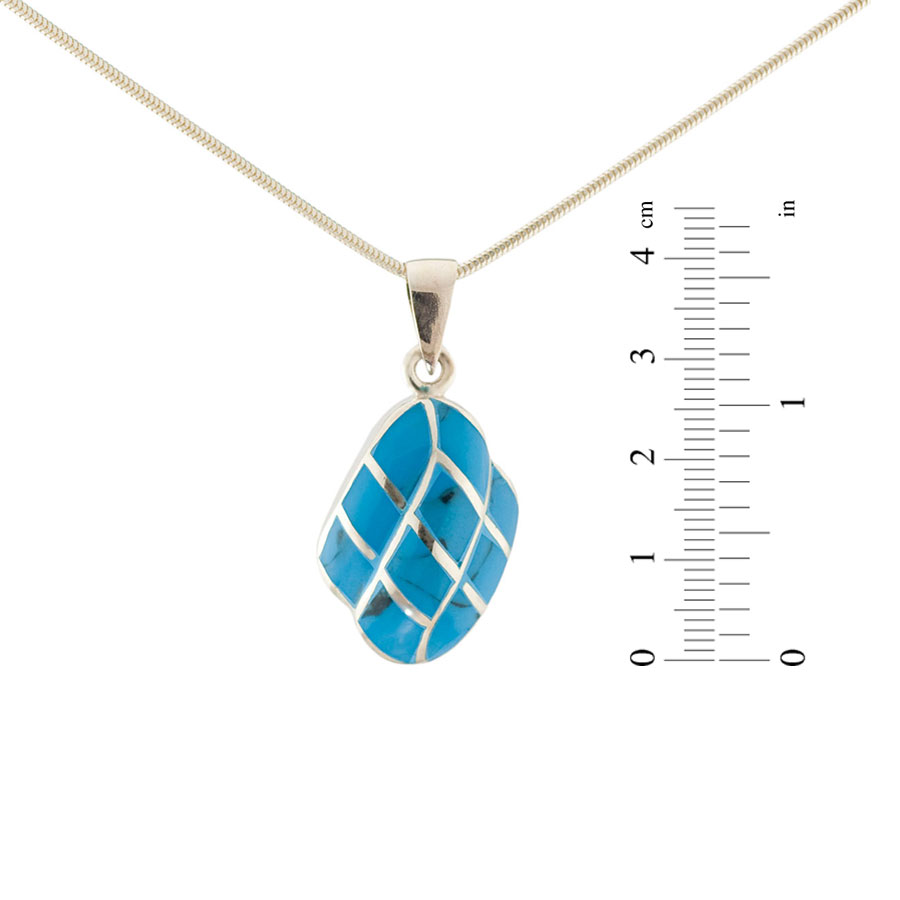 Micro mosaic turquoise silver pendant 1
