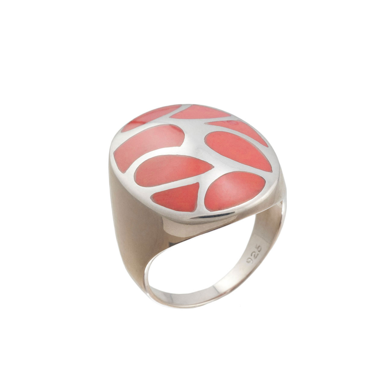 Coral Oval Dome Ring