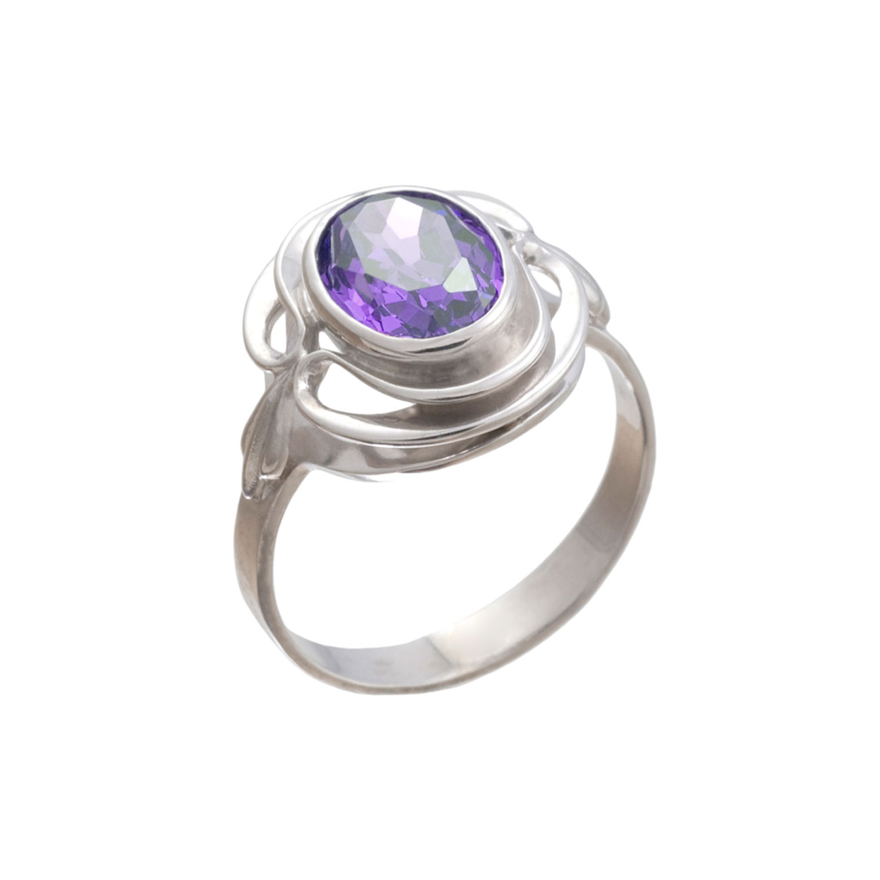 Silver Ring With Genuine Amethyst