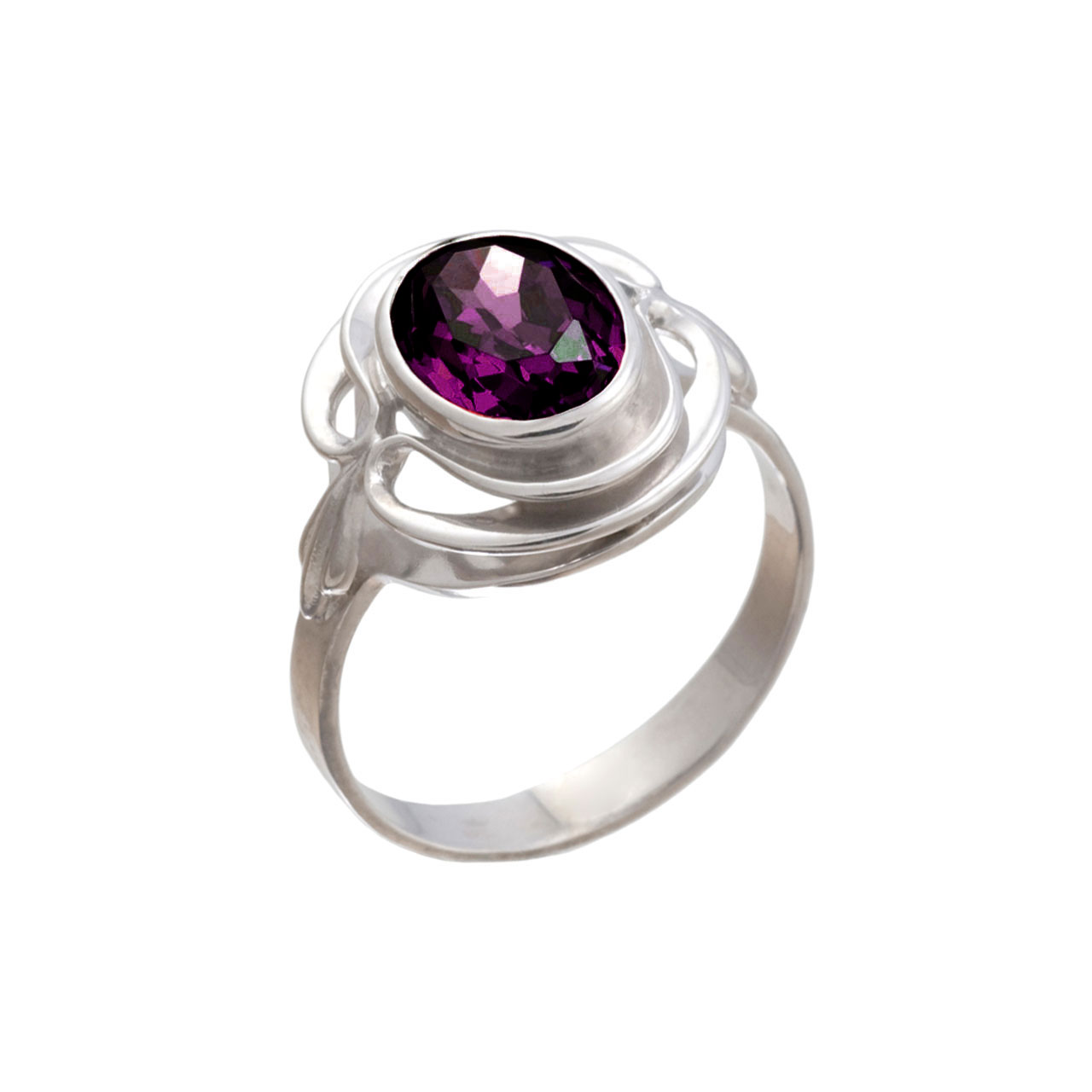 Silver Ring With Colored Swarovski Elements: An Amethyst