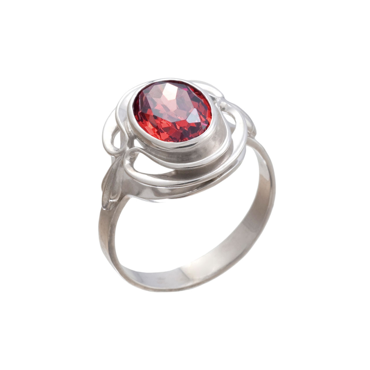 Silver Ring With Colored Swarovski CZ Elements: A Ruby