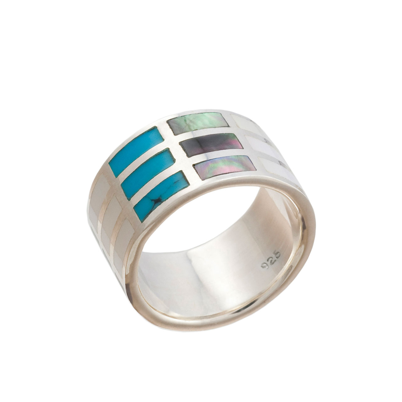 Multi-Colored Mother-of-Pearl and Turquoise Ring
