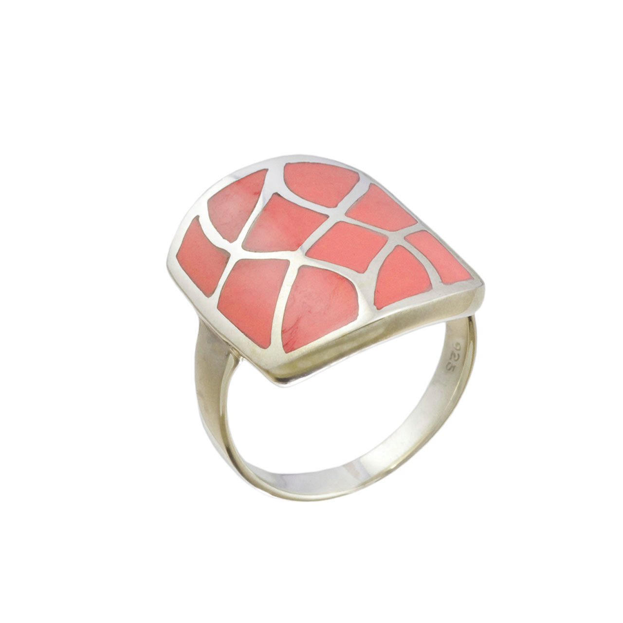 Coral silver ring on sale 1