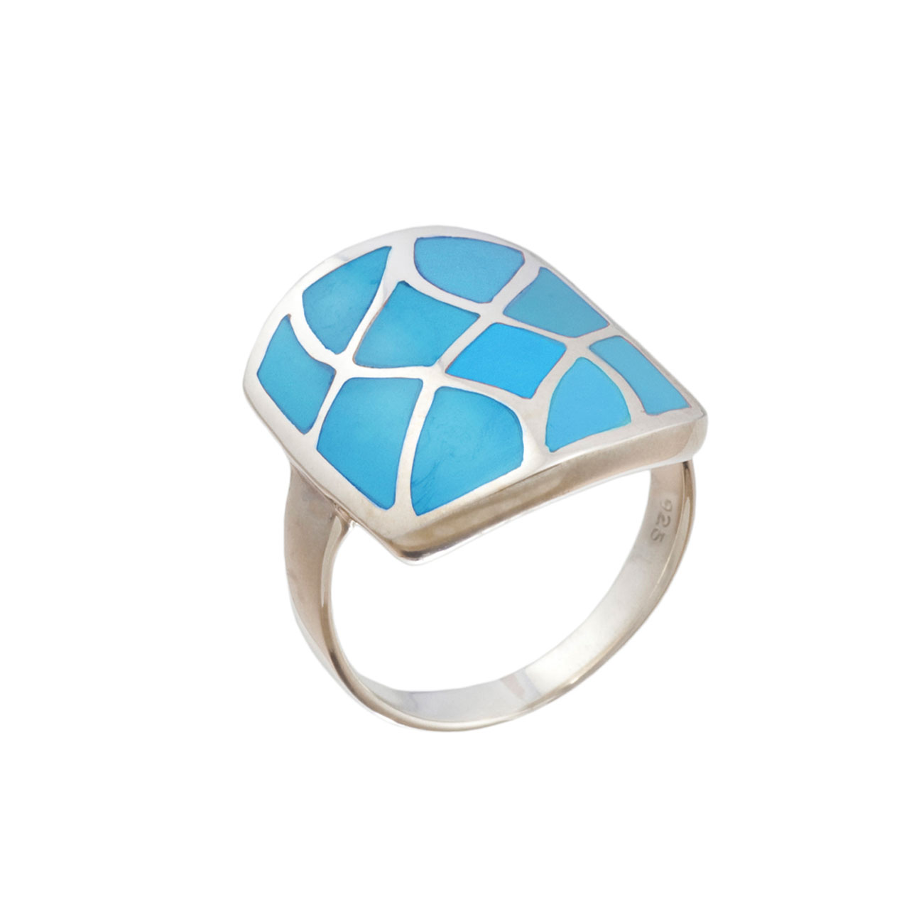 Turquoise Squared Shield Silver Ring