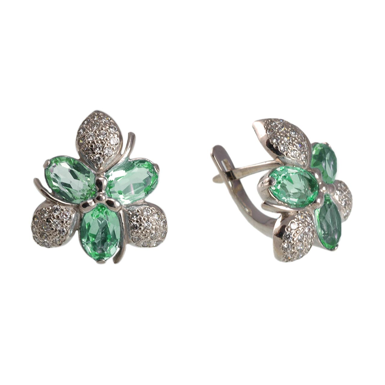 Floral Motif Faux Emerald Earrings