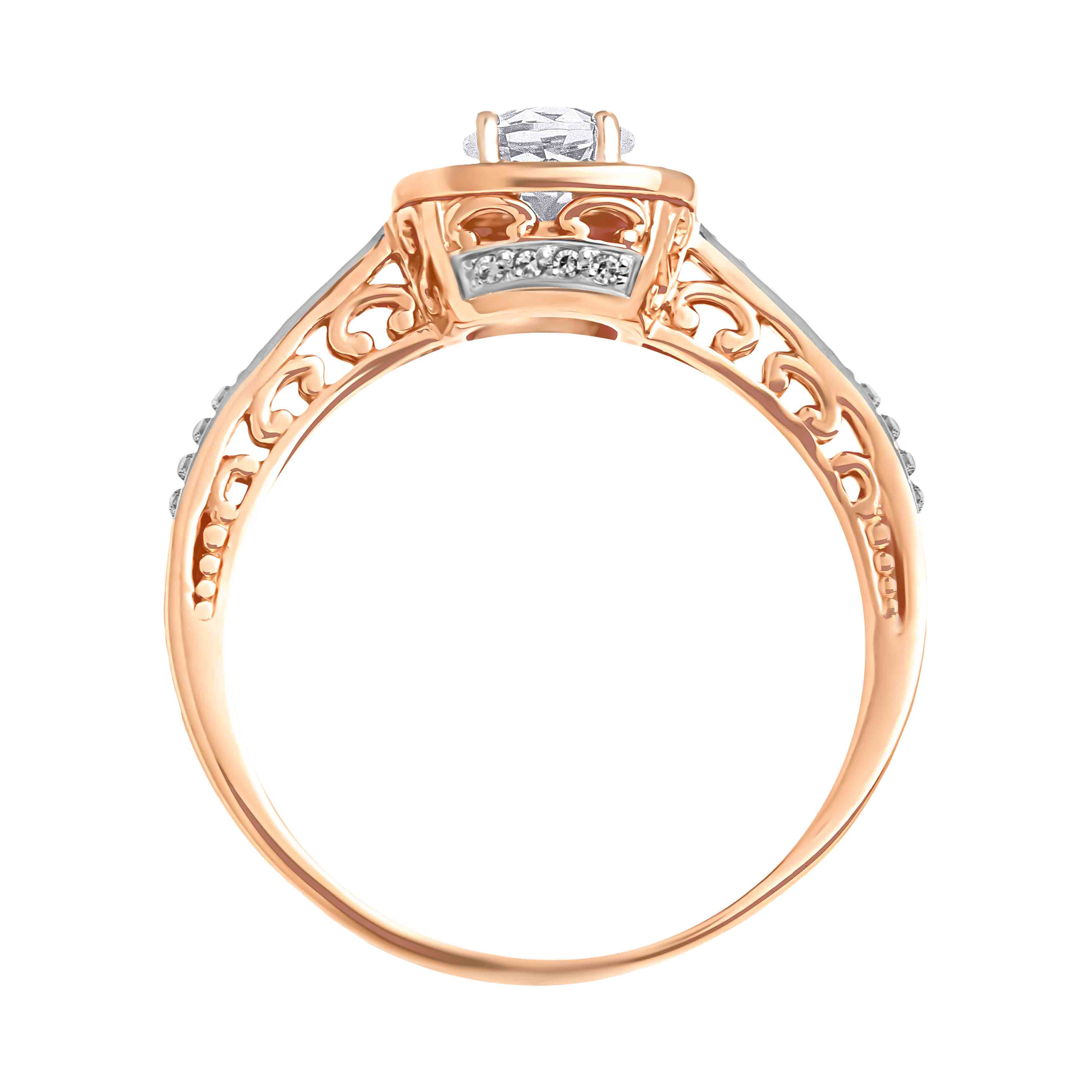 14kt Rose Gold Scrollwork Ring with Swarovski Topaz and Diamonds. View 3