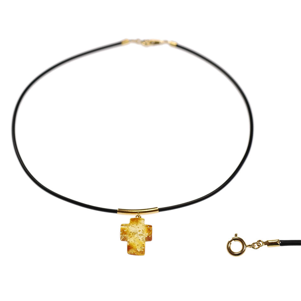 Amber cross necklace 1