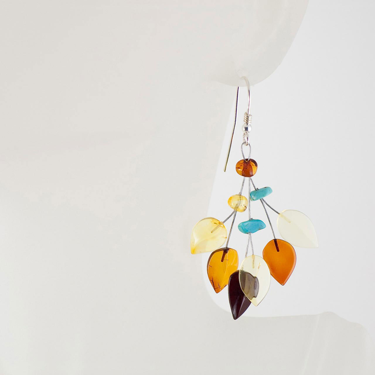 Silver amber and turquoise earrings 2
