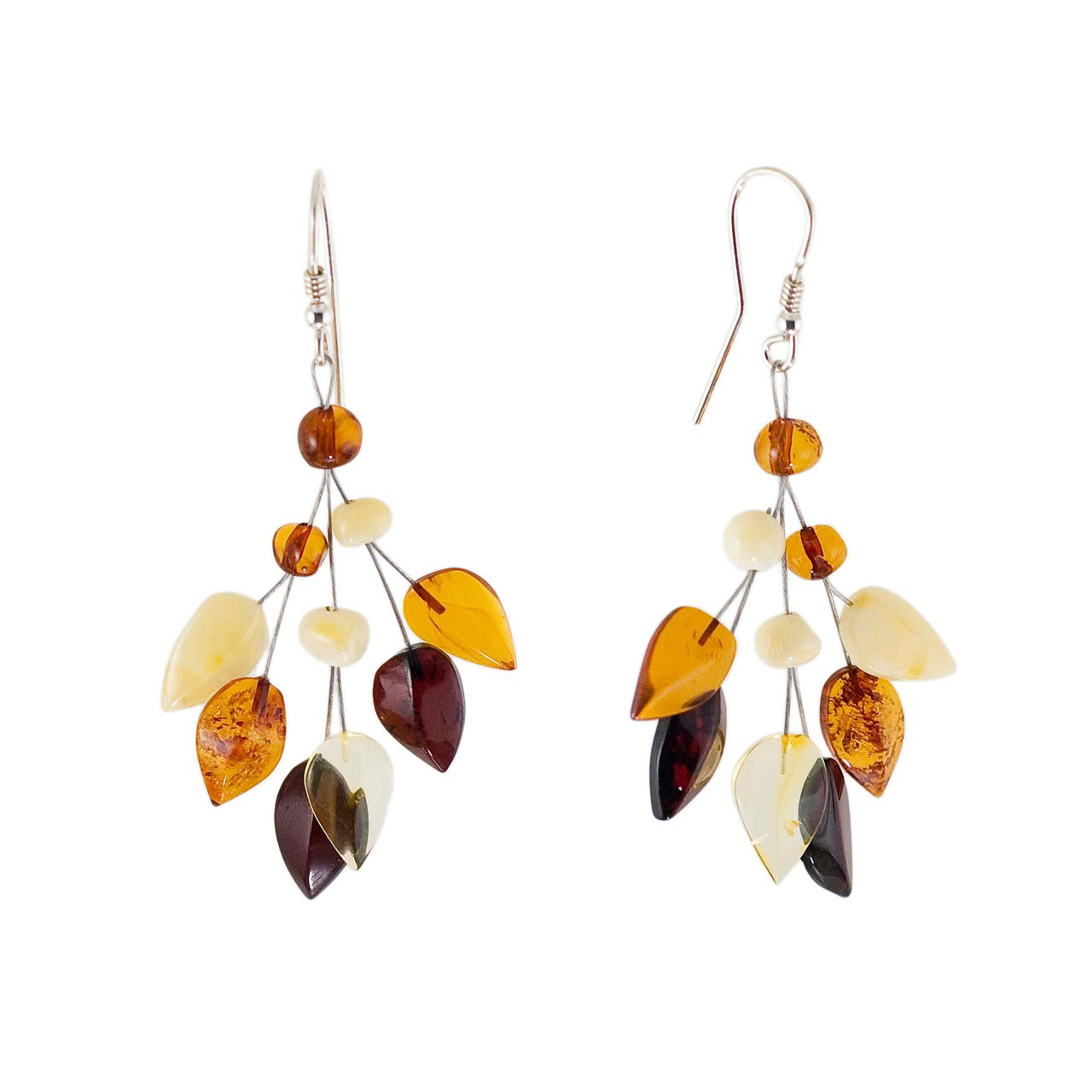 Amber silver earrings 1