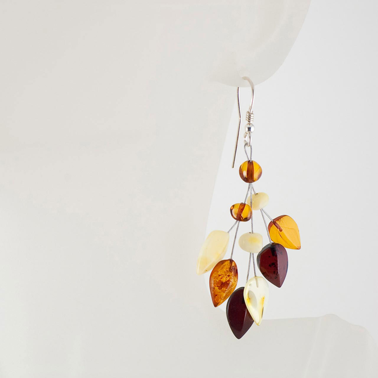 Amber silver earrings 2