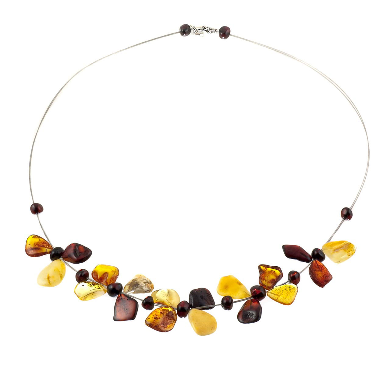 Necklace With Amber Butterflies