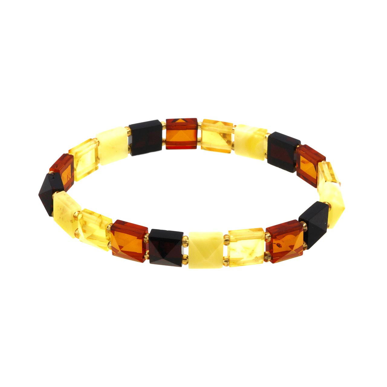 Mix Color Faceted Amber Stretch Bracelet