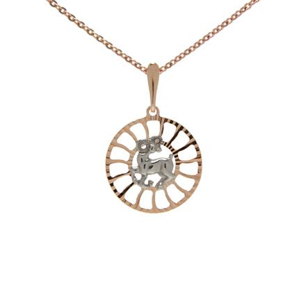 Zodiac charms aries gold circular pendant golden flamingo aloadofball Choice Image