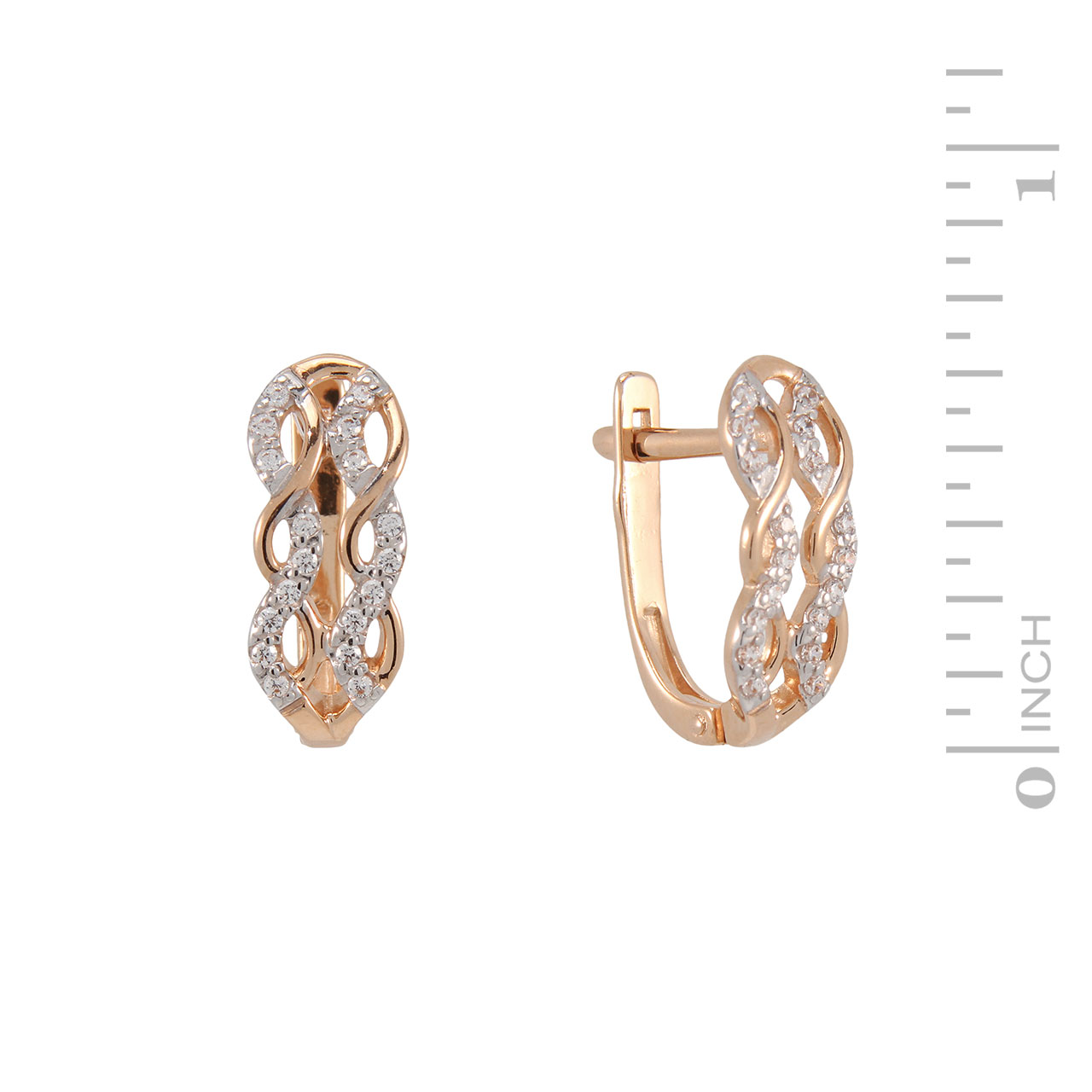CZ rose gold mesh earrings 1