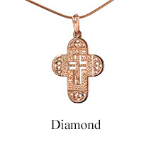 Diamond Cross 'Two Prayers'. Byzantine Style Orthodox Cross