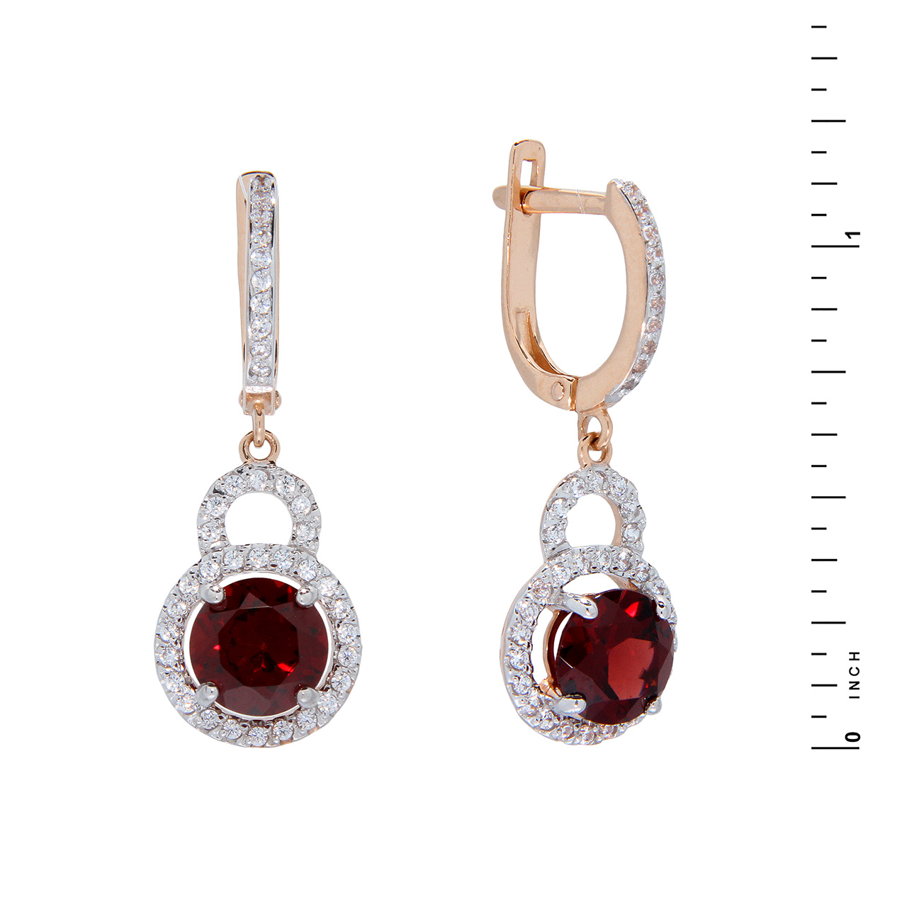 Garnet & CZ Drop Earrings