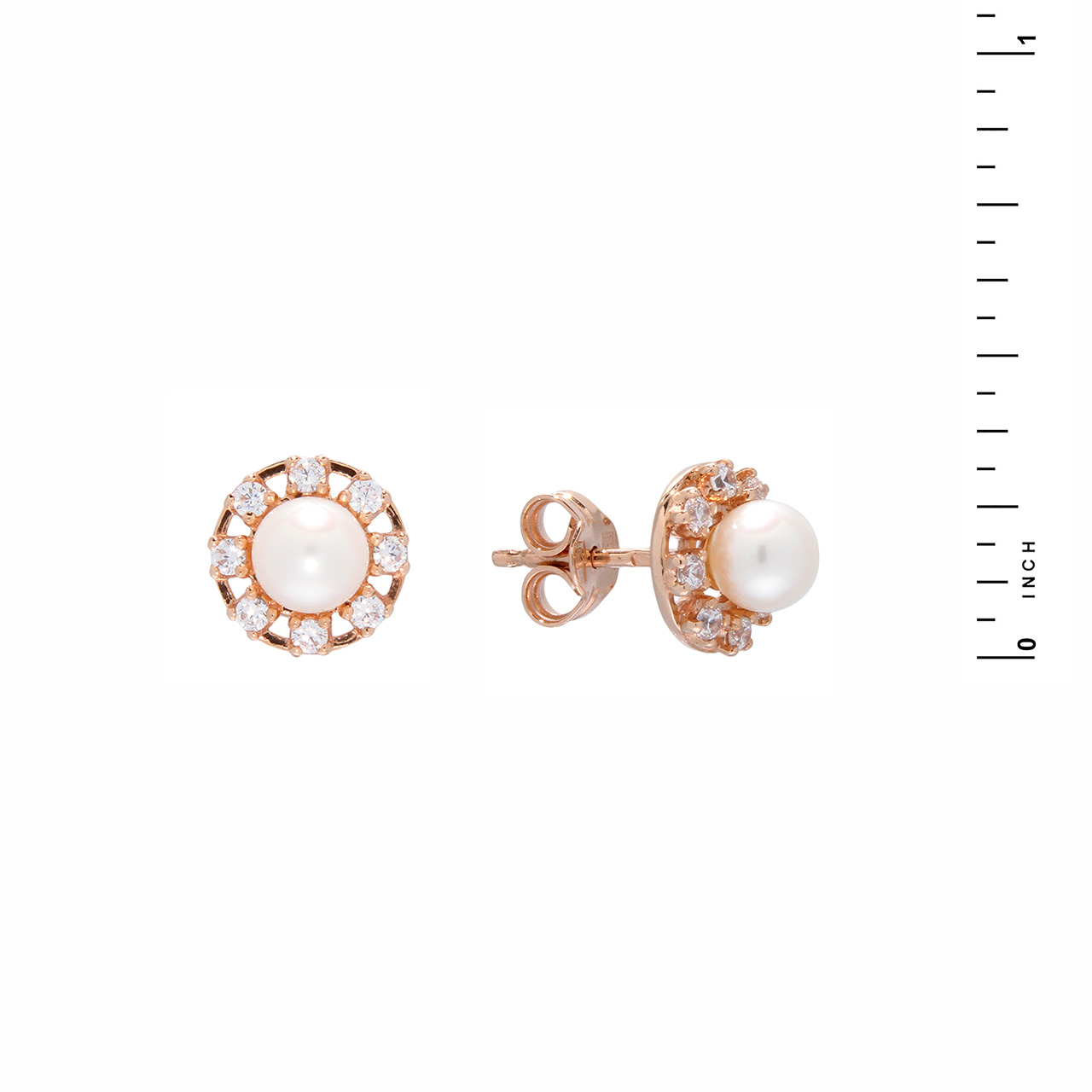 Pearl and CZ Stud Earrings
