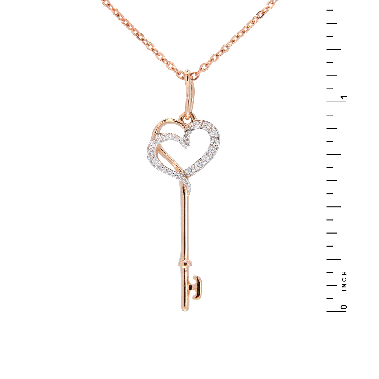 CZ 'Key to Hearts' Pendant