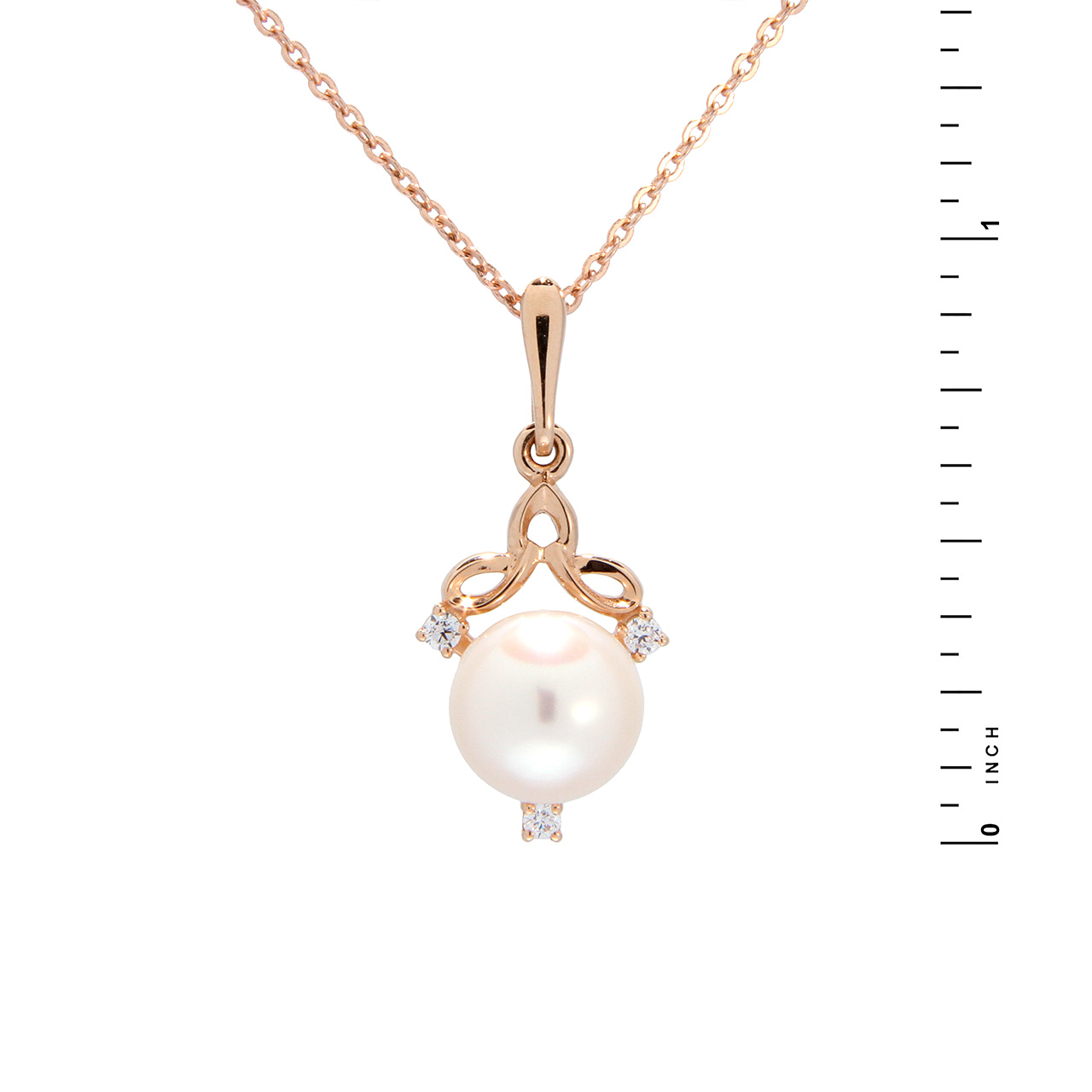Pearl and CZ Rose Gold Pendant