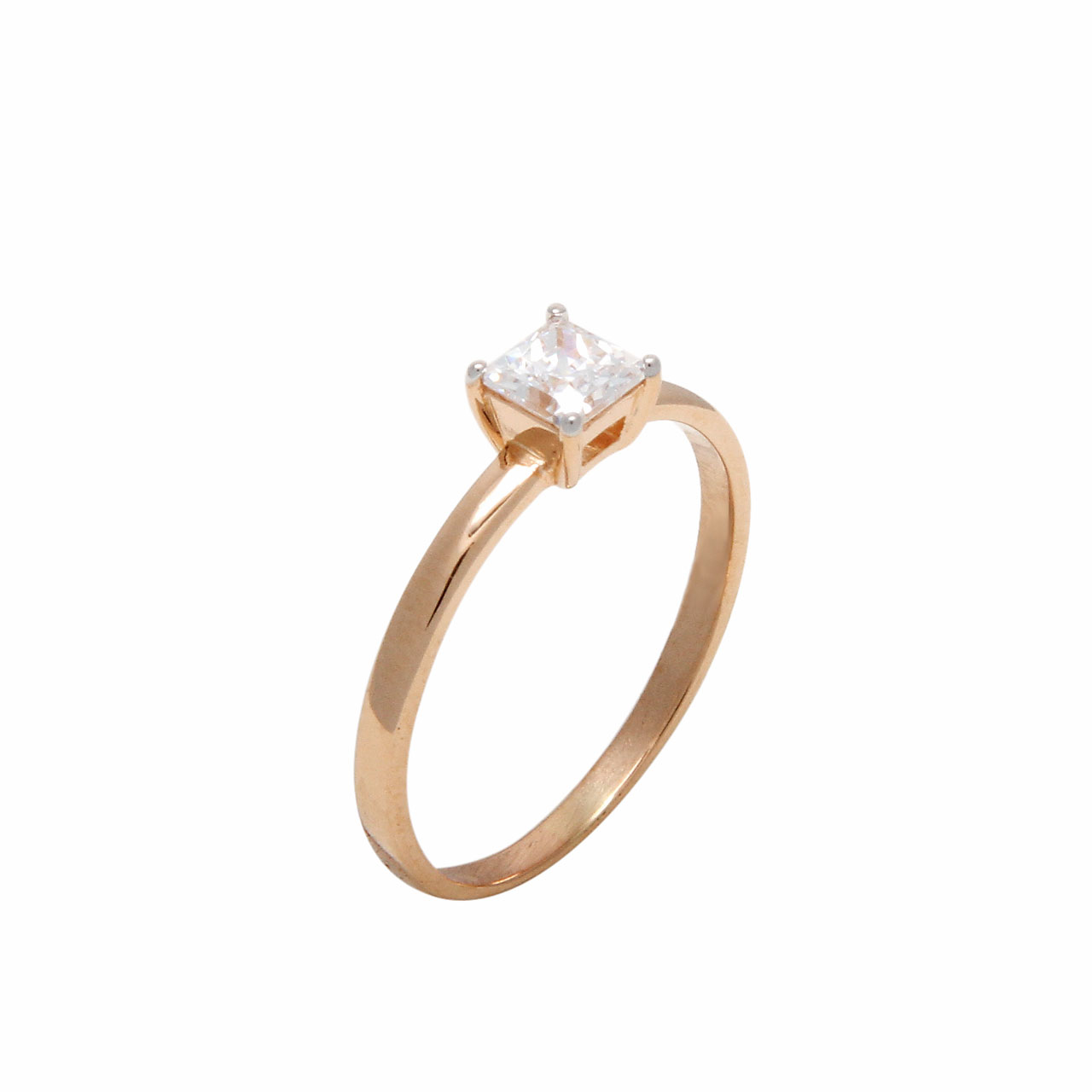 Solitaire Princess Cut CZ Plain Ring