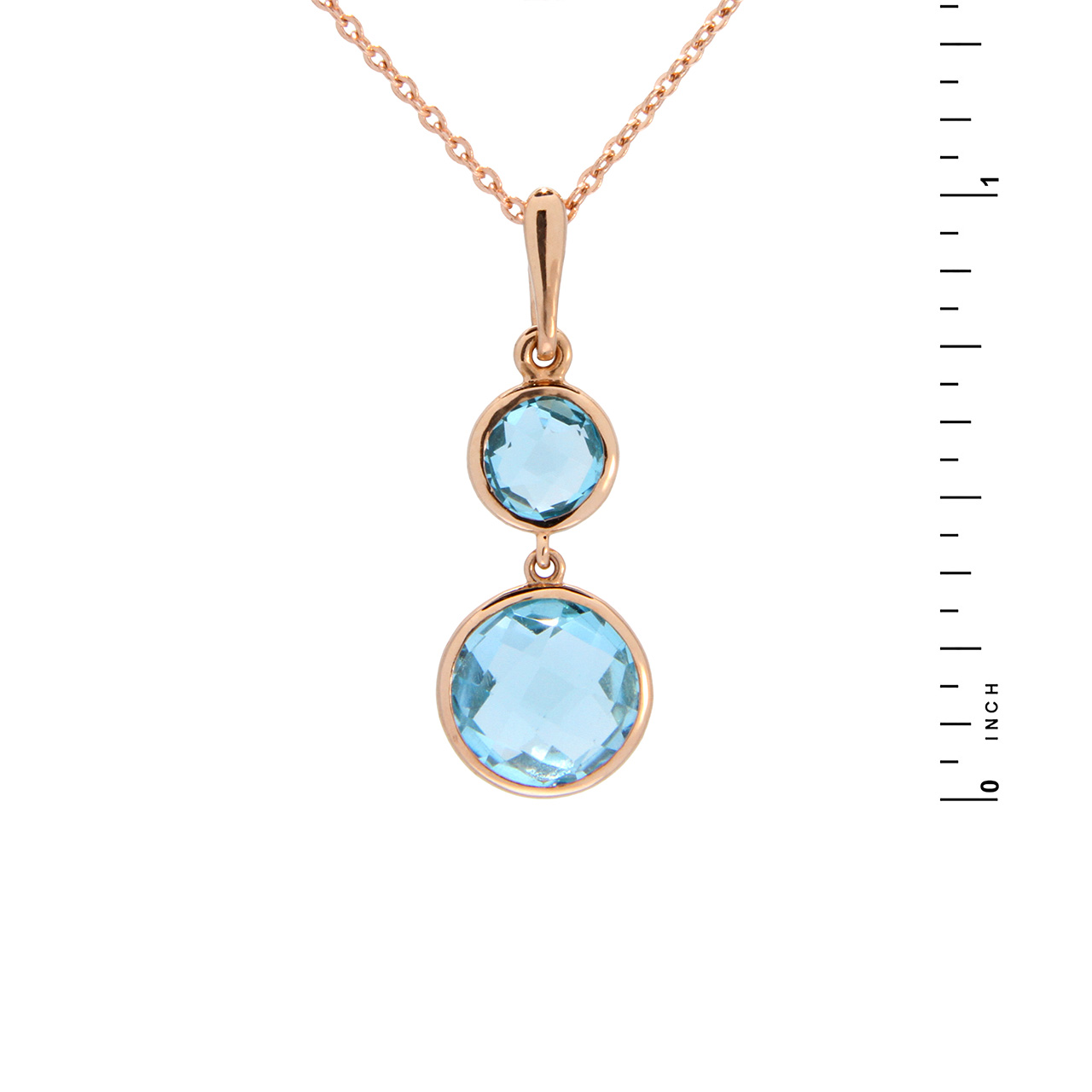 Two Round Blue Topaz Pendant