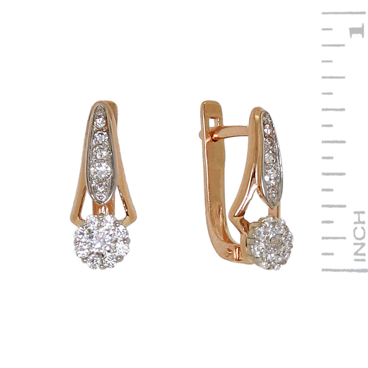 Russian gold CZ earrings 1
