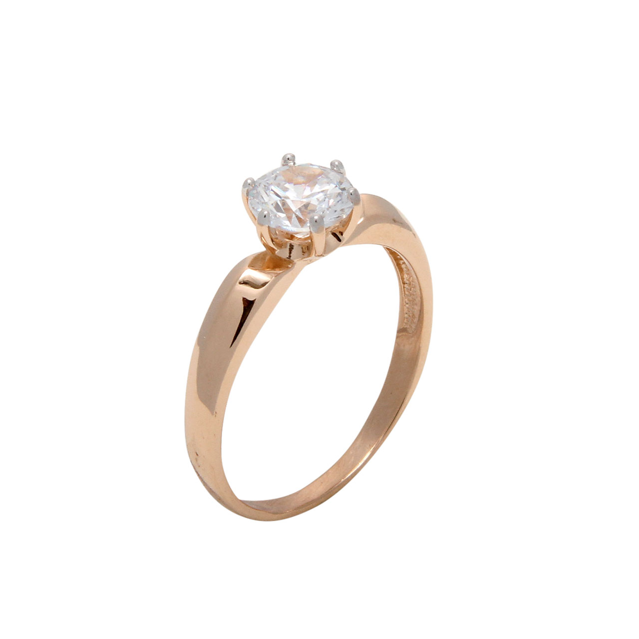 Russian gold CZ engagement ring 1
