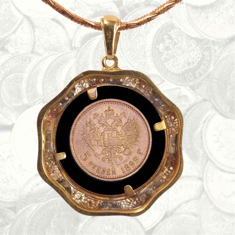 Coin pendant with 5 rubles, black onyx and diamonds 2