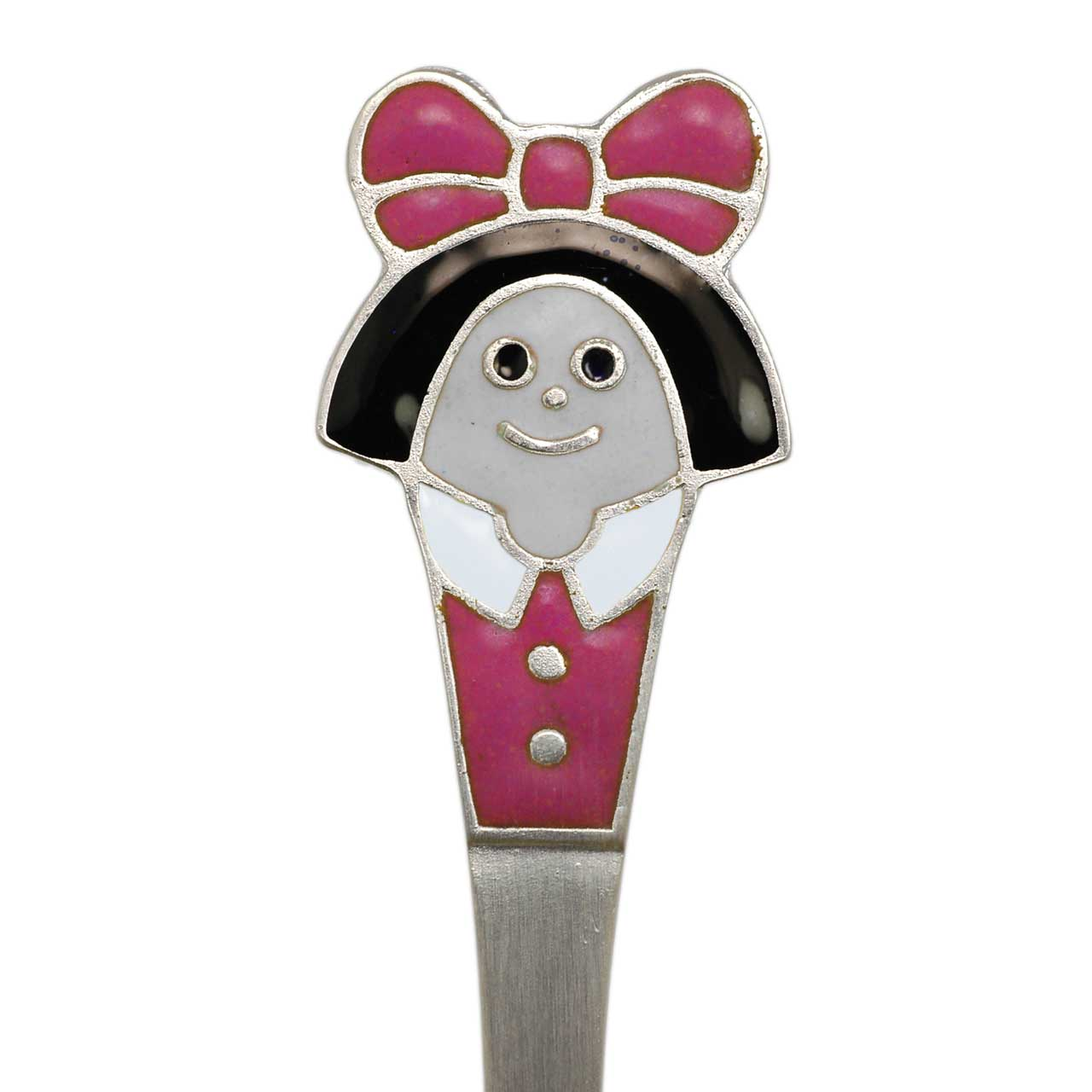 Silver baby spoon Girl with pink bow  2