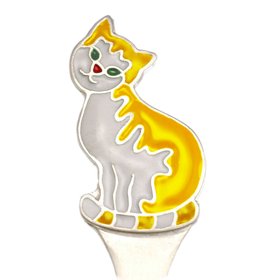 Silver child spoon Cat yellow 2
