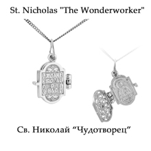 St. Nicholas the Wonderworker. Diamond Silver Locket Icon