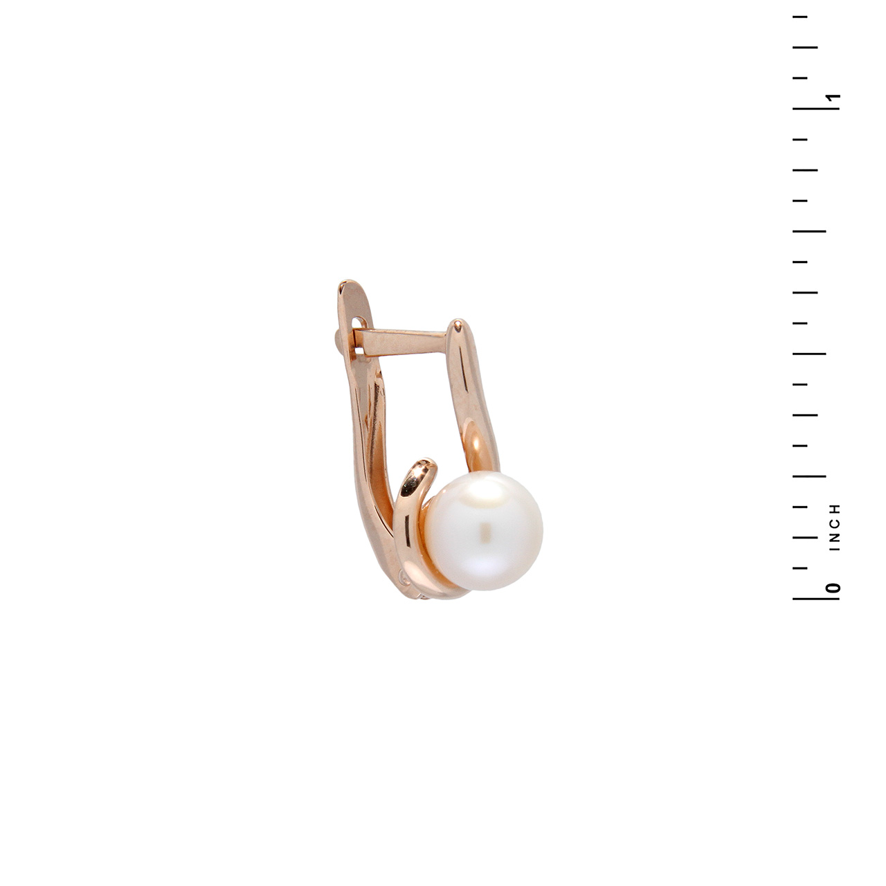 Pearl rose gold leverback earrings 3