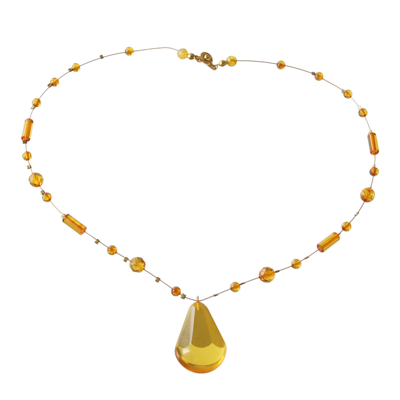 Amber teardrop necklace 1