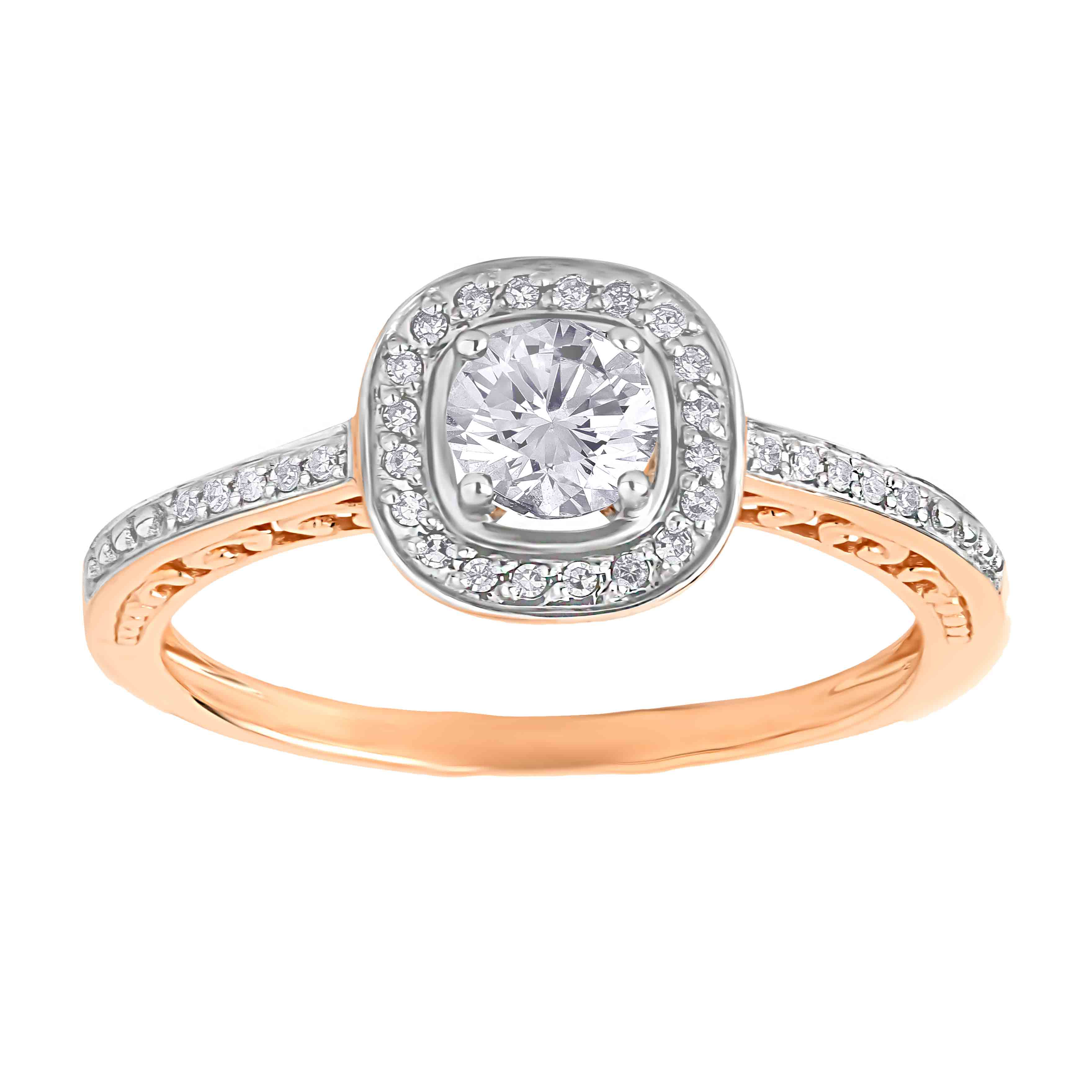 Affordable 14kt rose gold Swarovski topaz and diamond engagement ring. View 2