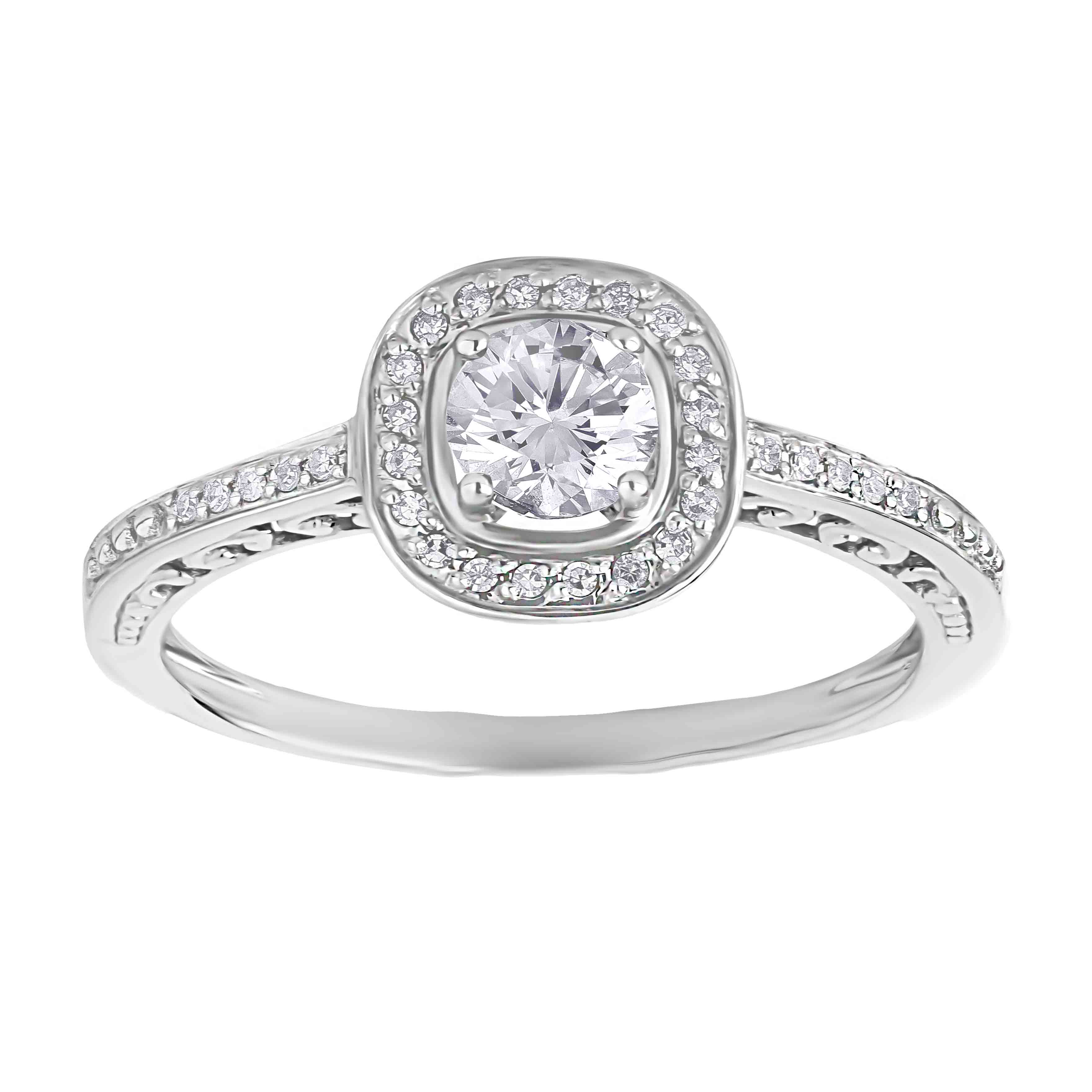 Affordable 14kt white gold Swarovski topaz and diamond engagement ring. View 2