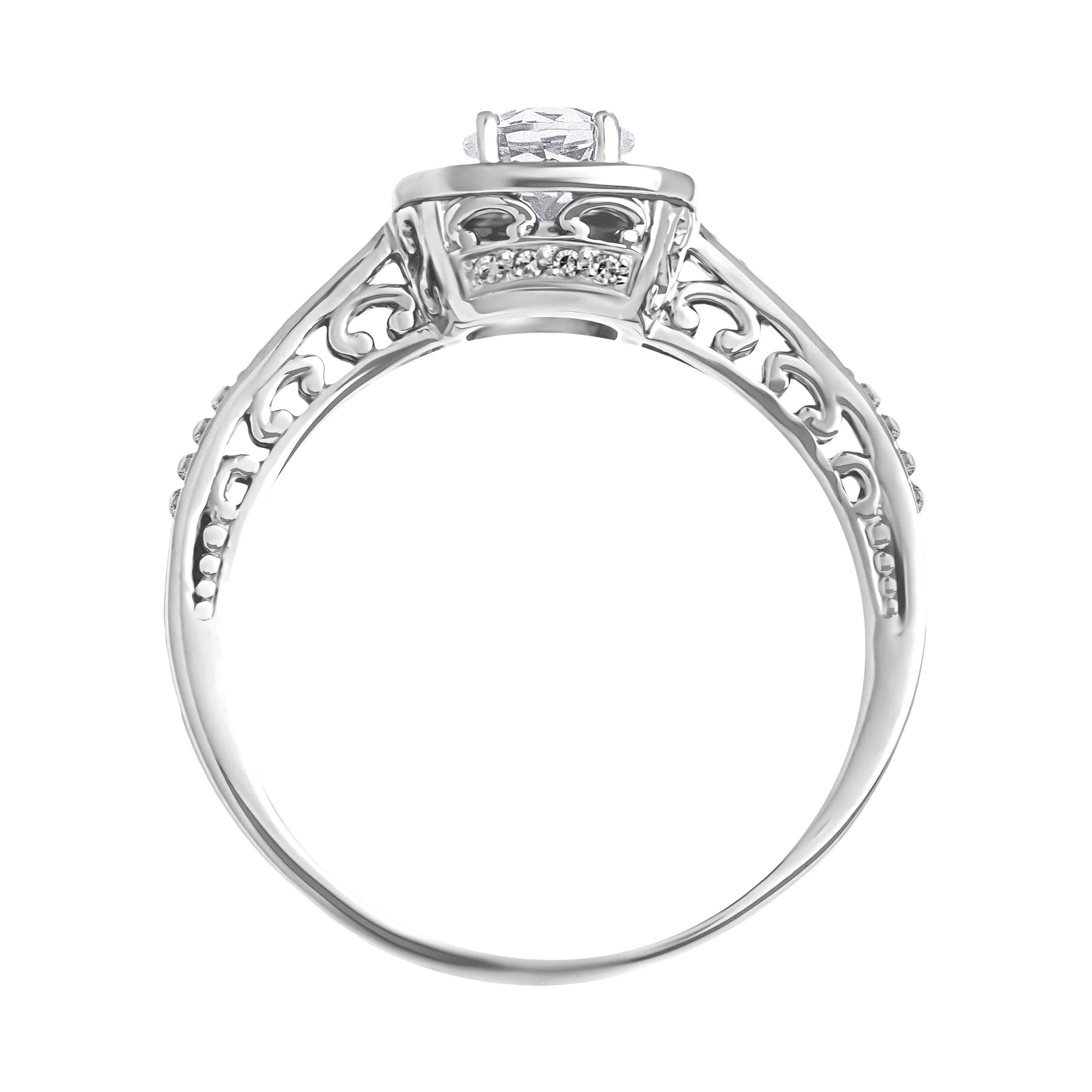 Affordable 14kt white gold Swarovski topaz and diamond engagement ring. View 3