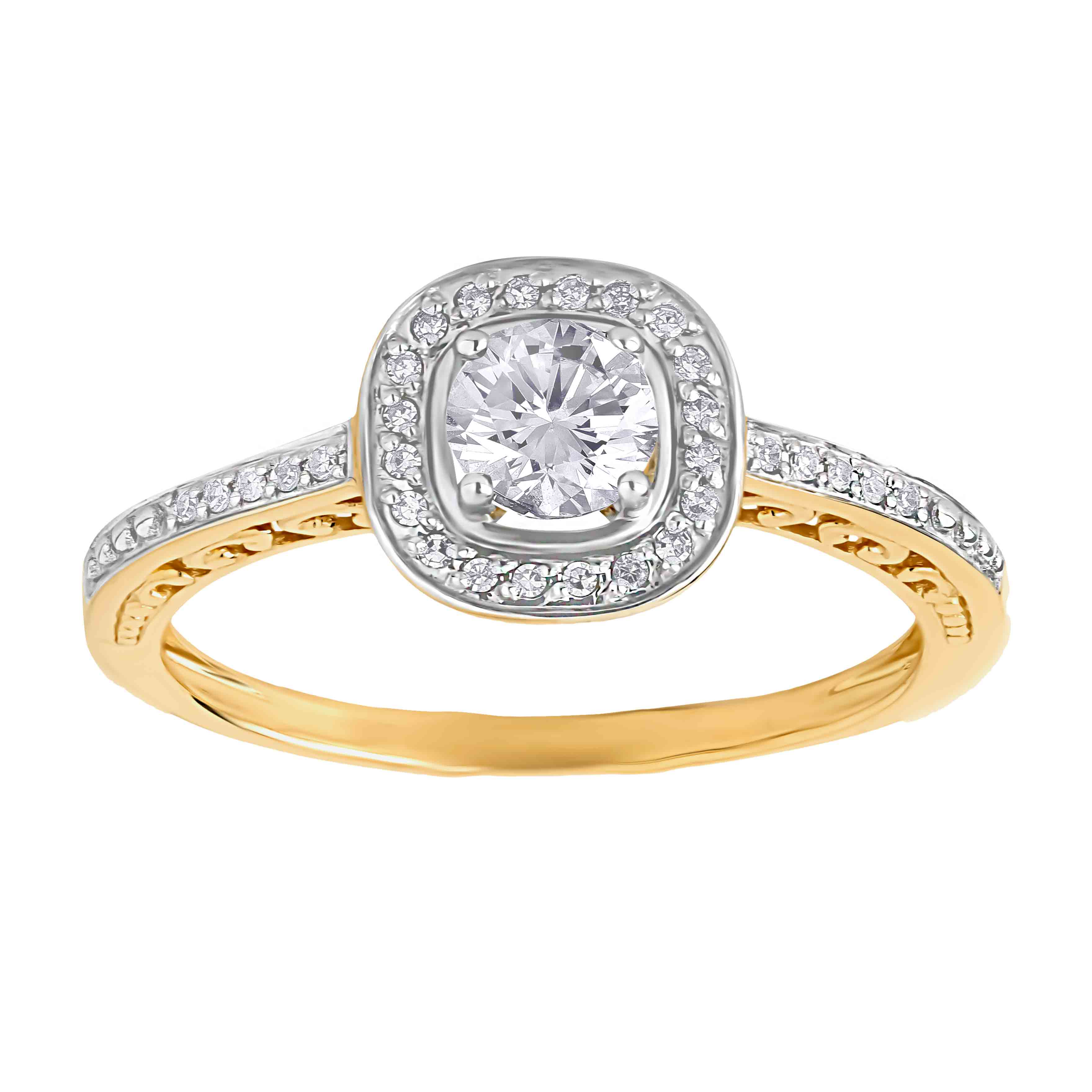 14kt yellow gold Swarovski topaz and diamond affordable engagement ring. View 2