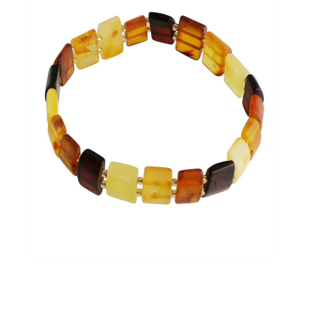 Amber Bracelet with Gleaming Brass Beads