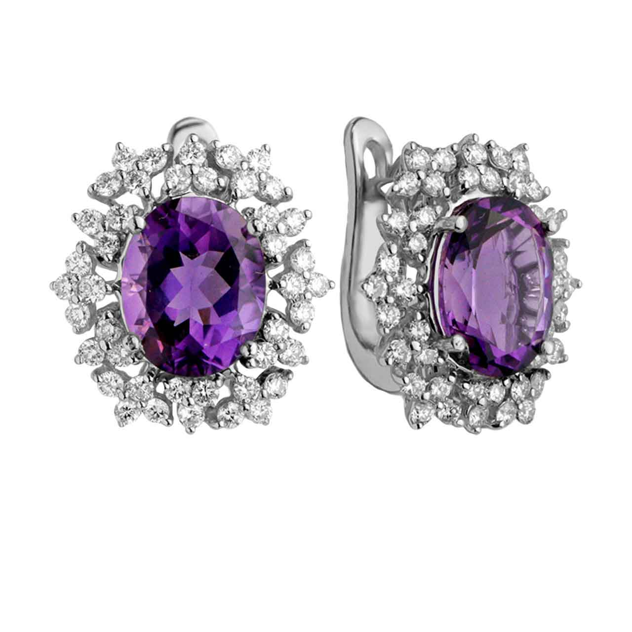 Oval Amethyst with Diamond Cluster Earrings