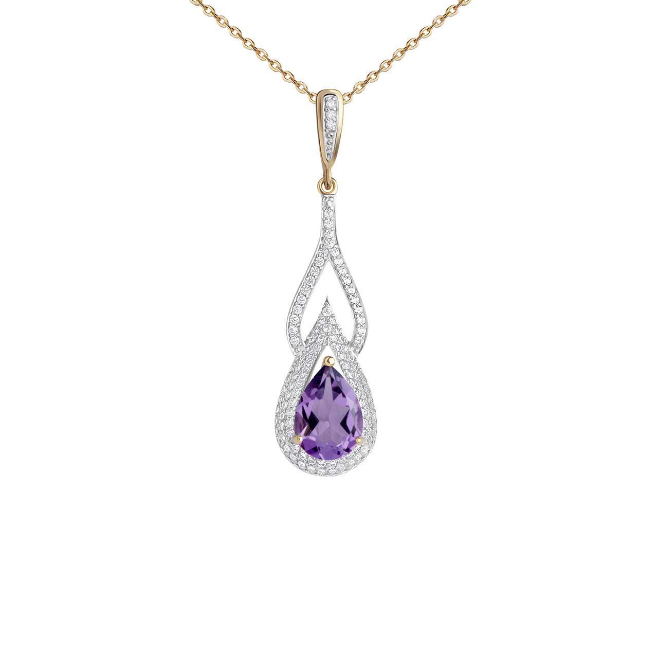 Teardrop Amethyst and CZ Gold Pendant