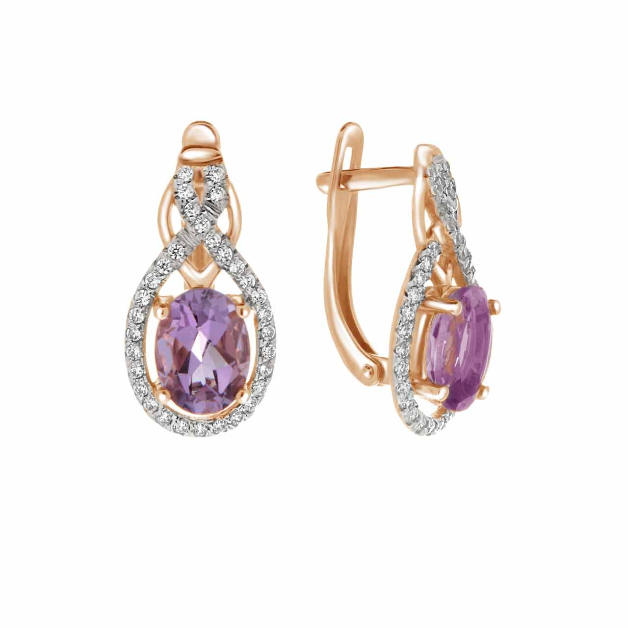 Oval Amethyst and CZ Leverback Earrings