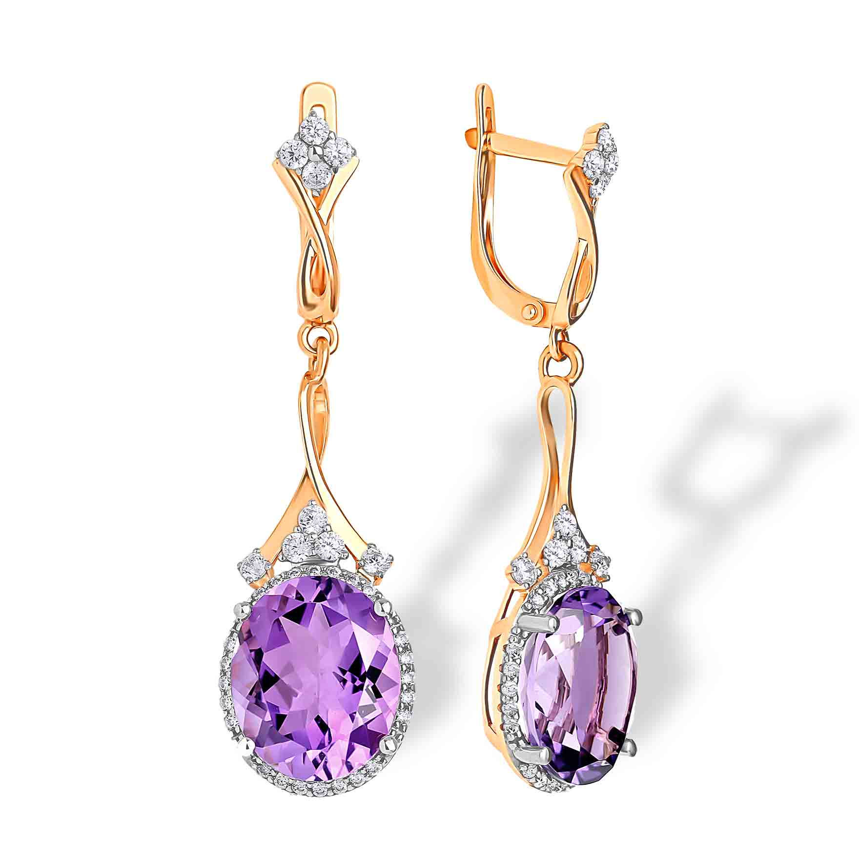 E819 Gorgeous earrings Fine 9CT Gold Amethyst and Diamonds Plum Blossom Stud Earrings