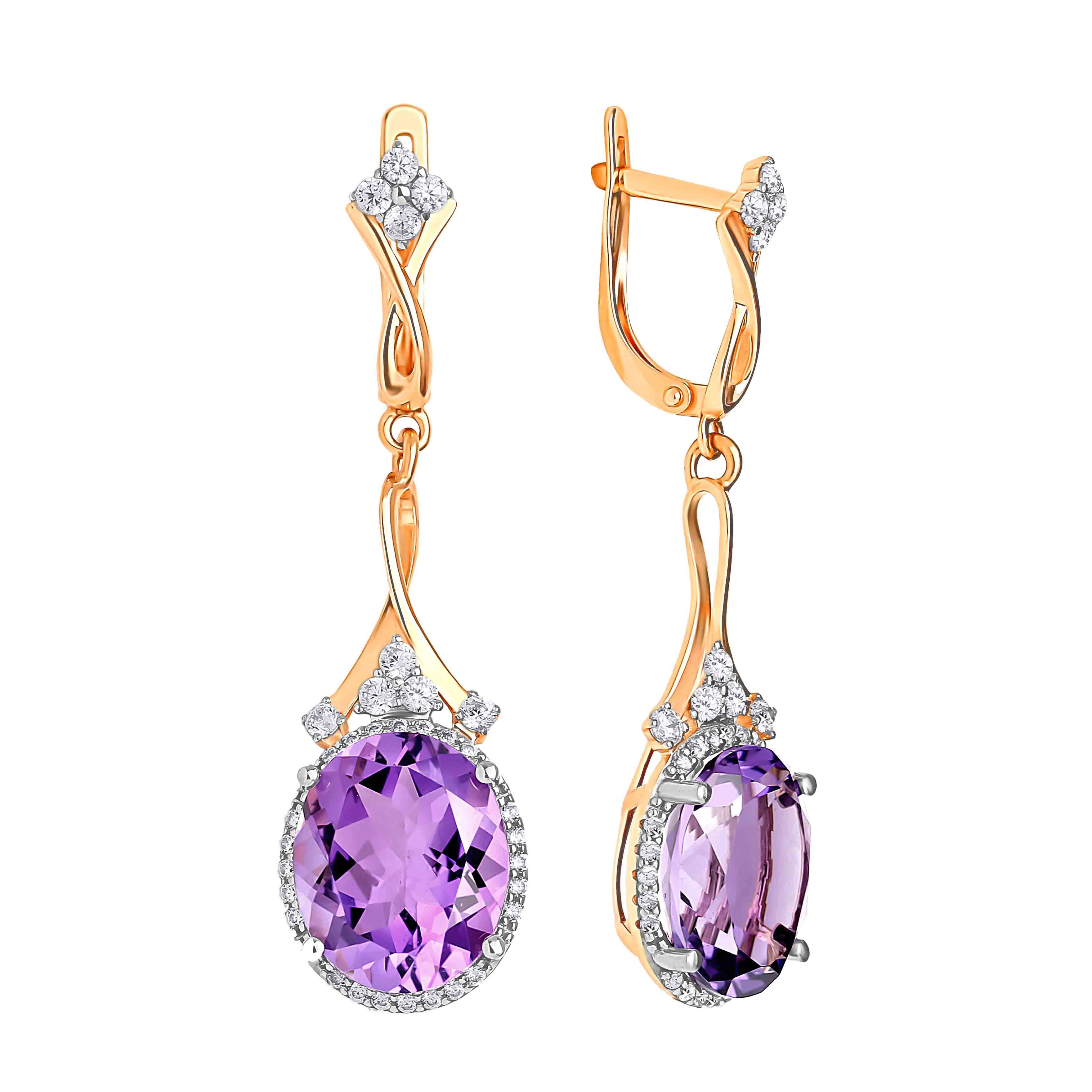 Oval-shaped Amethyst Cocktail Earrings