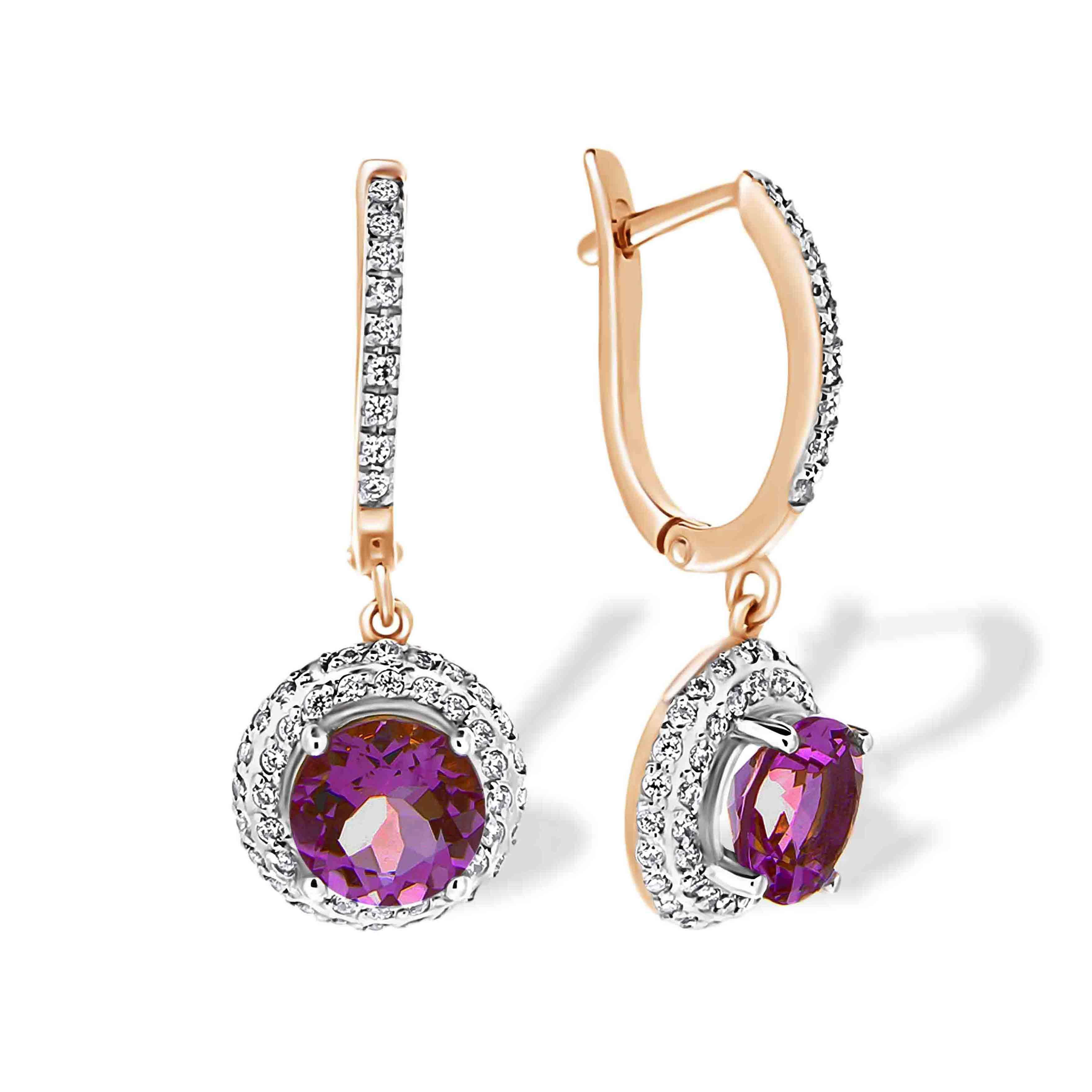 Amethyst and CZ Drop Earrings