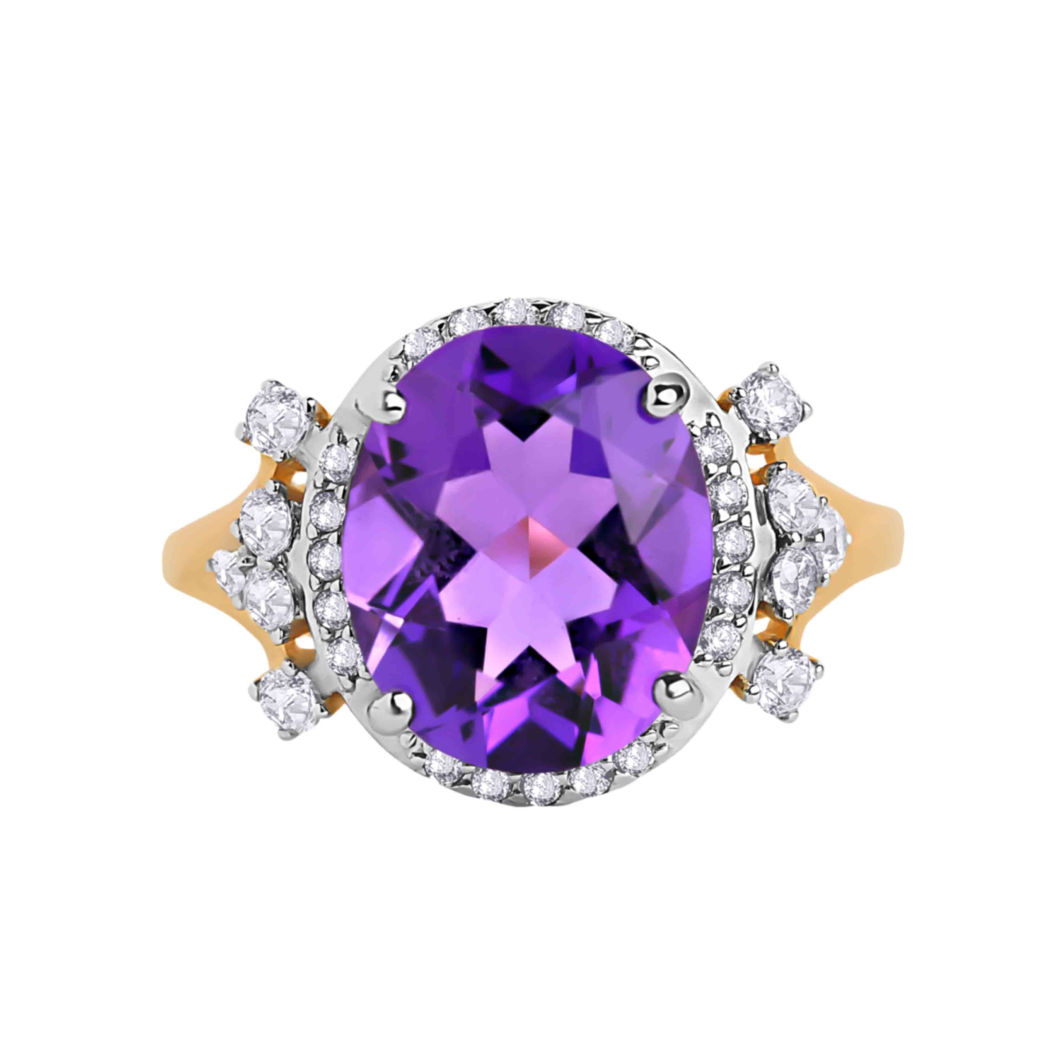 Oval-shaped Amethyst Cocktail Ring. View 2