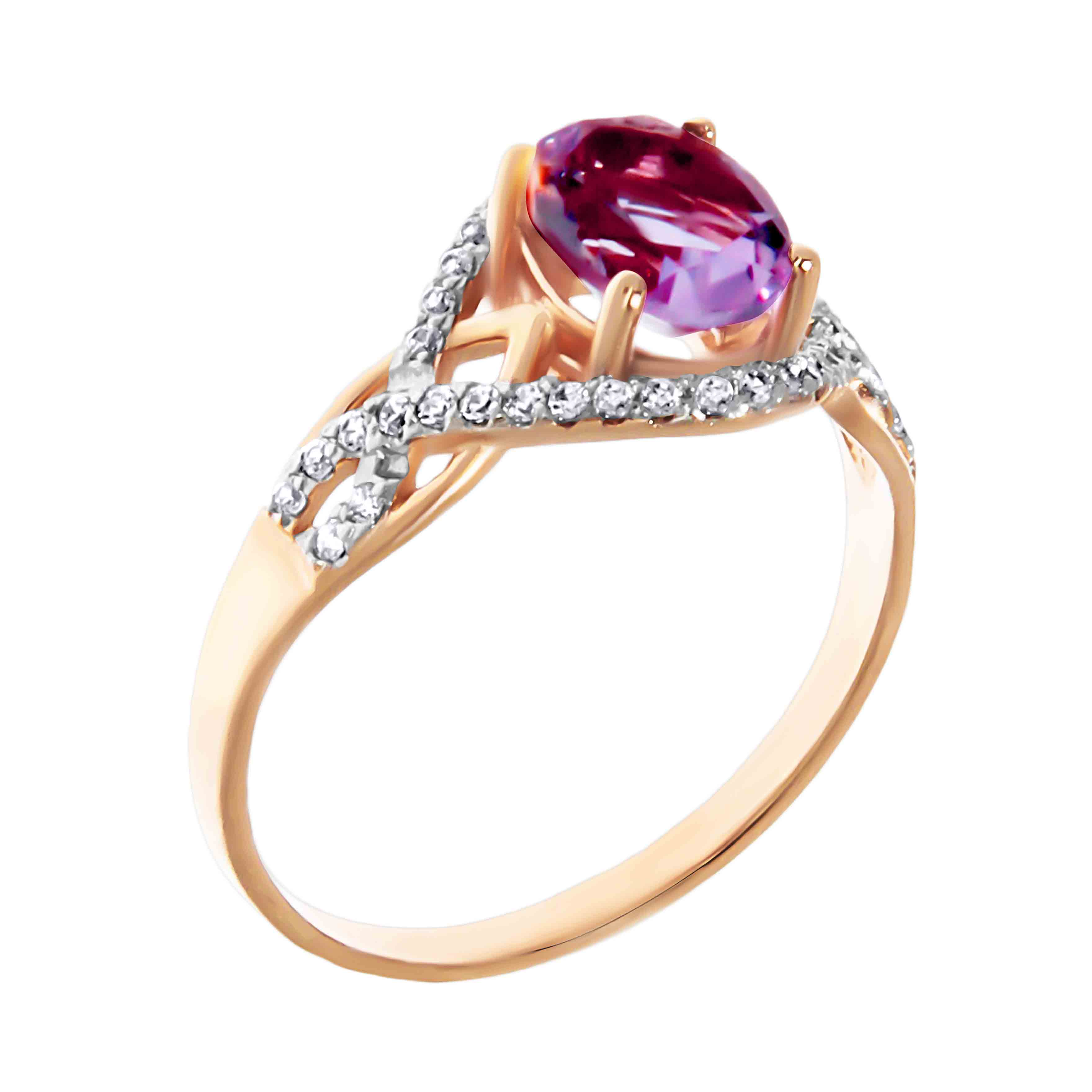 Oval Amethyst and CZ Ring