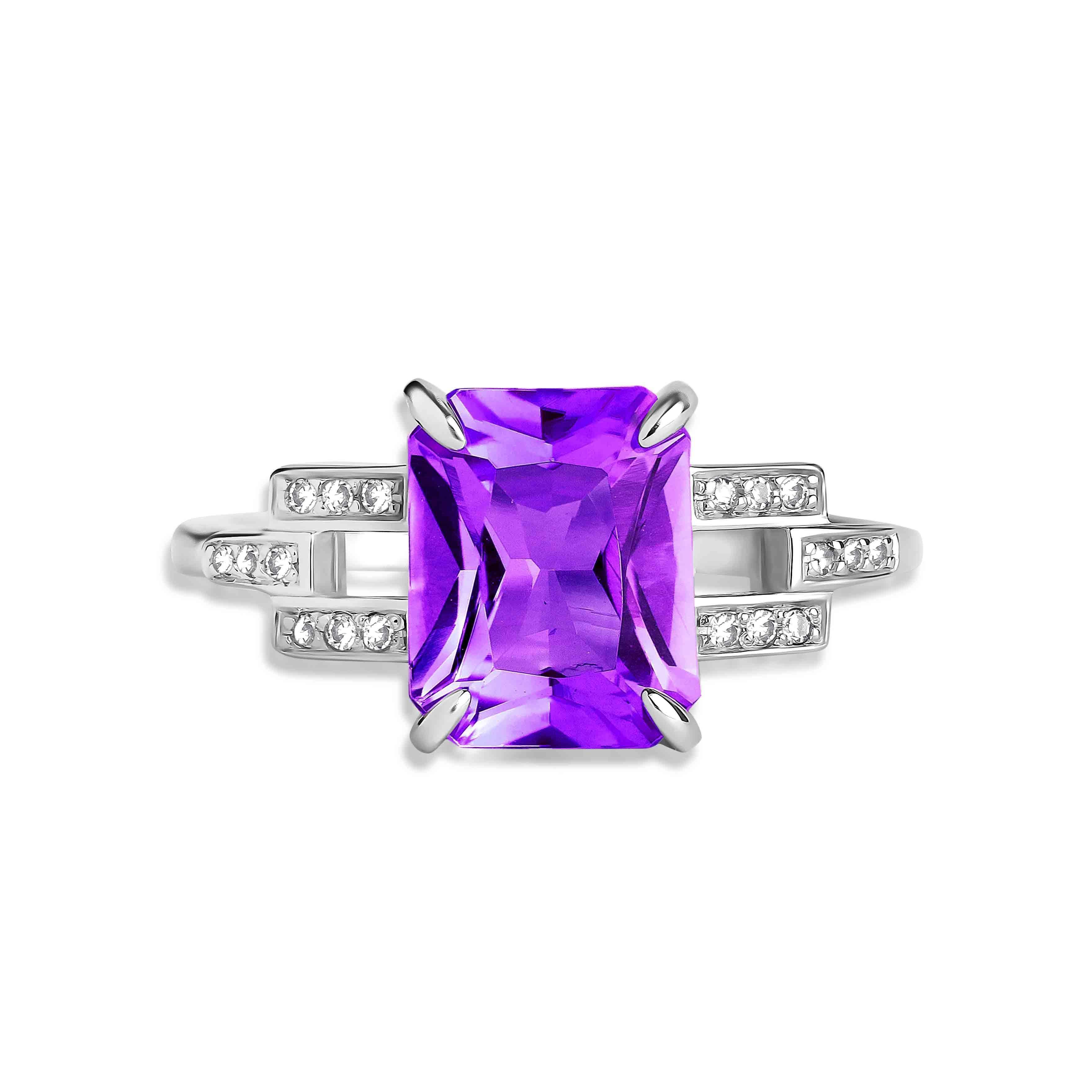 Amethyst Diamond Ring view 2