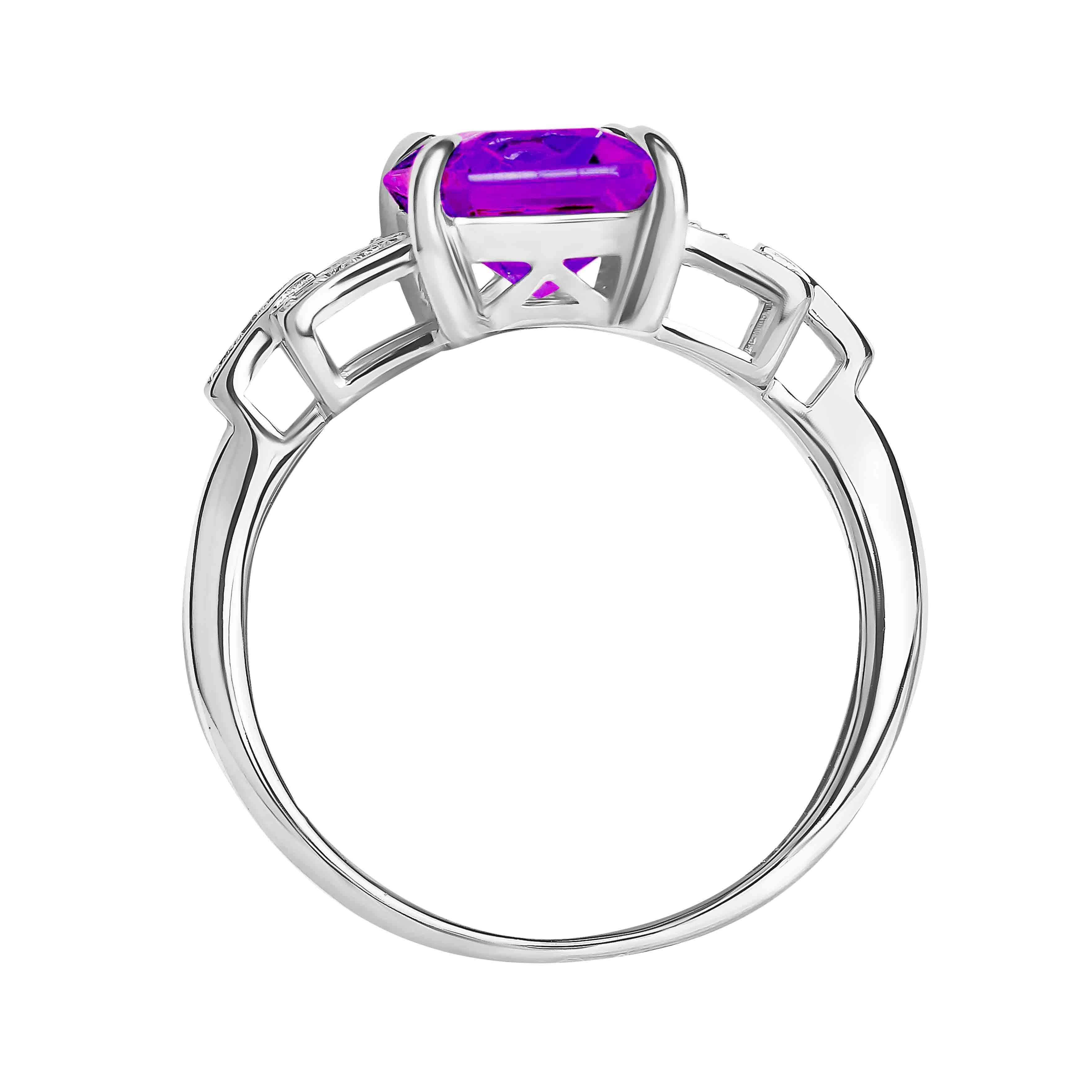 Amethyst Diamond Ring view 3