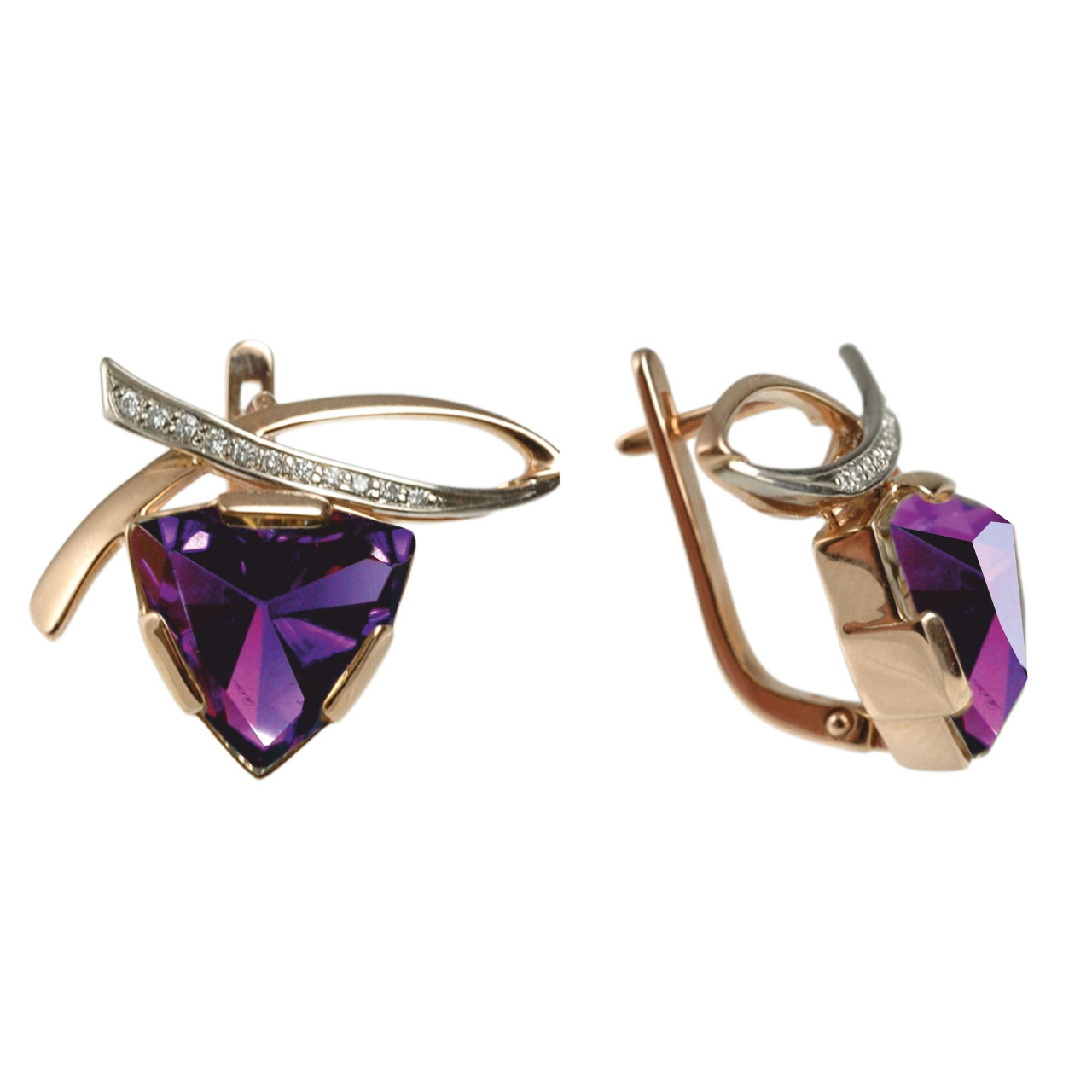 Rose and white Russian gold triangular rauh amethyst diamond earrings 1