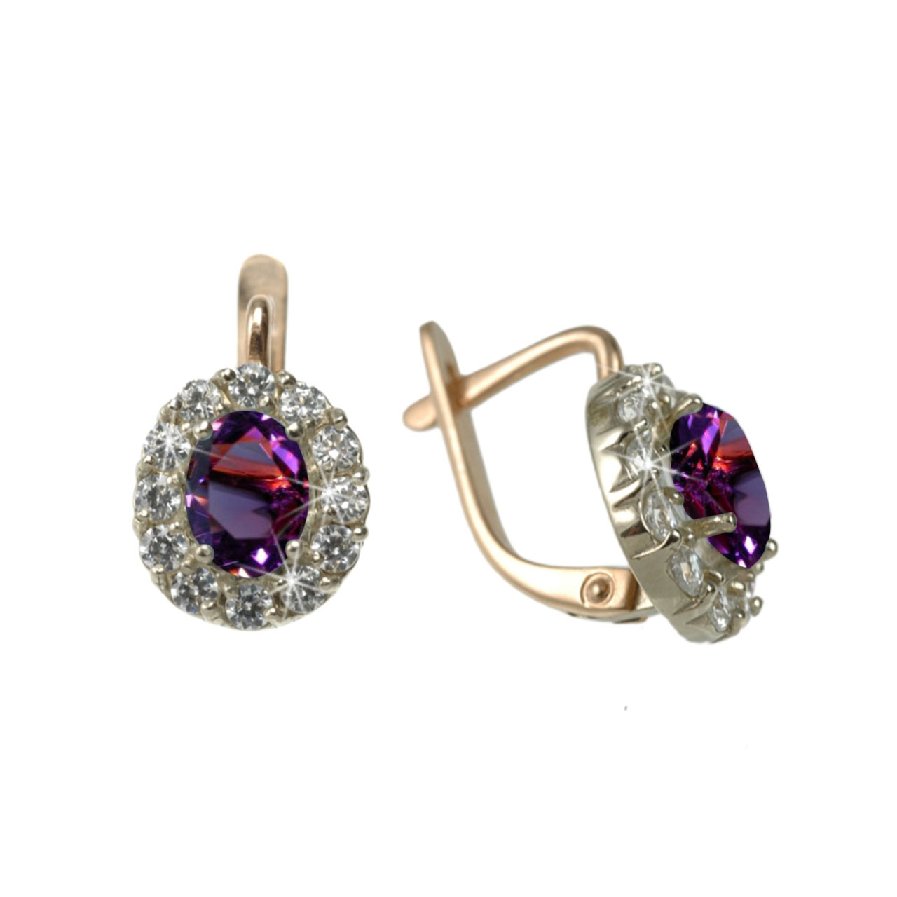 Amethyst & Swarovski CZ Halo Earrings